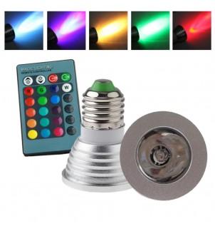 Цветна LED крушка DS-E27 с дистанционно управление