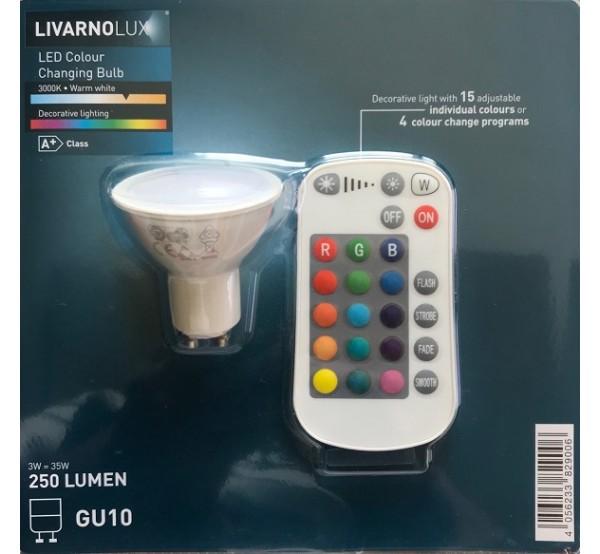 LivarnoLux Цветна LED лампа с дистанционно управление 250Lm GU10