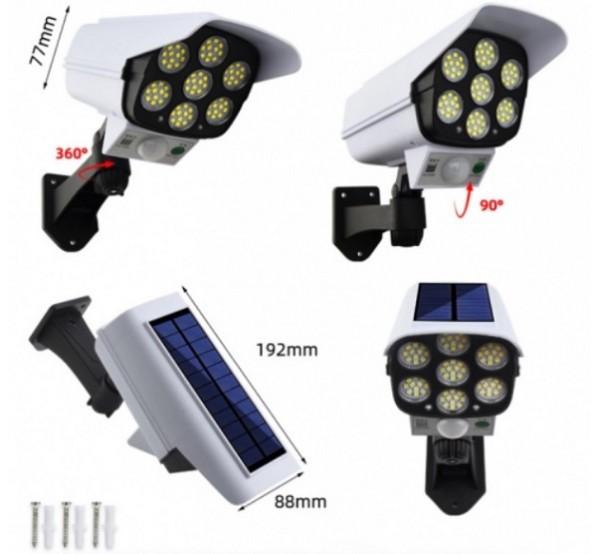 2 в 1 Фалшива соларна камера и ЛЕД прожектор